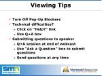 viewing tips