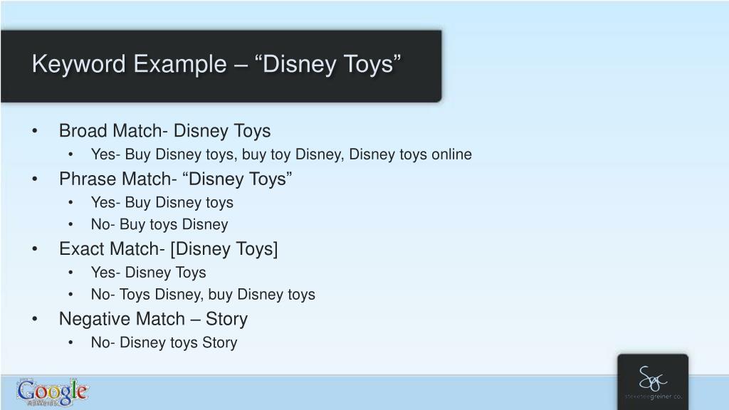 "Keyword Example – ""Disney Toys"""