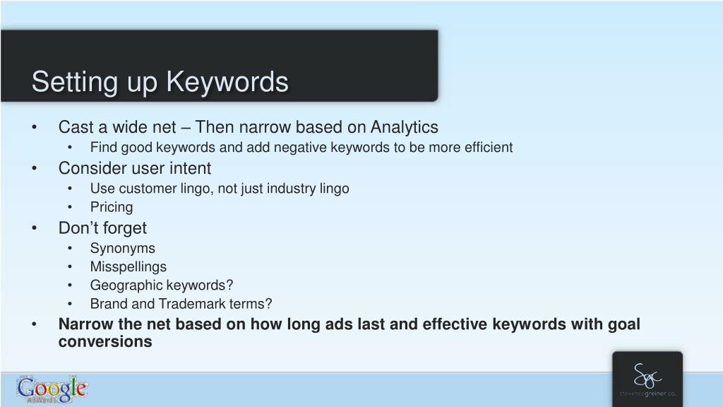 Setting up Keywords