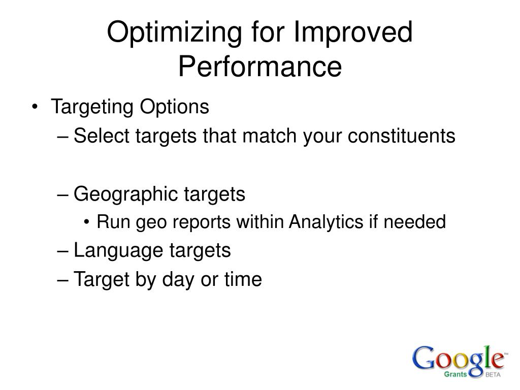 Optimizing for Improved Performance