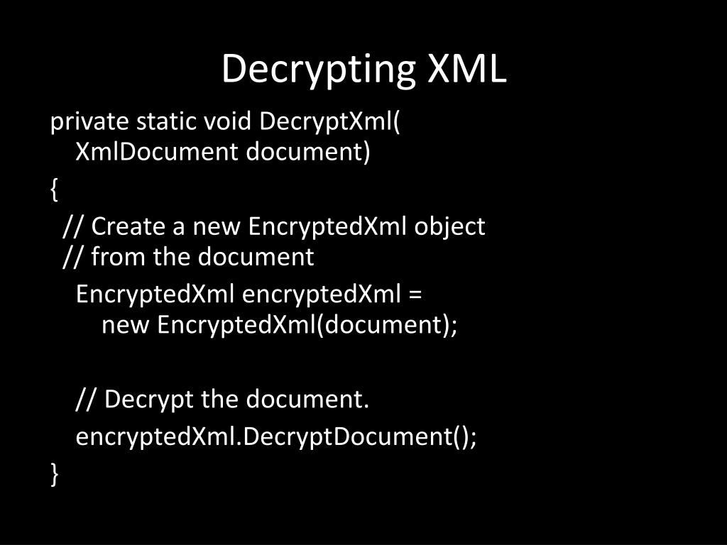 Decrypting XML