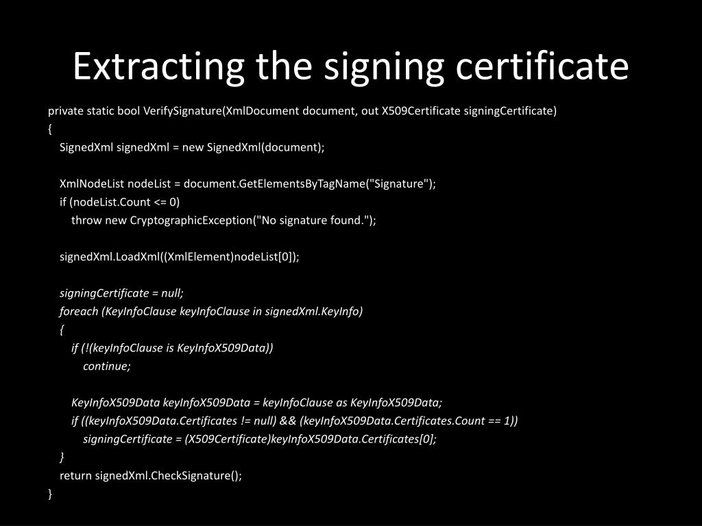 Extracting the signing certificate
