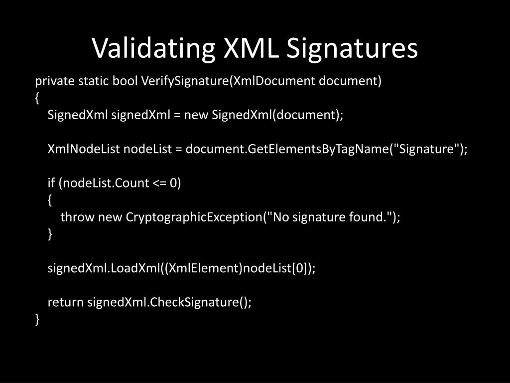 Validating XML Signatures