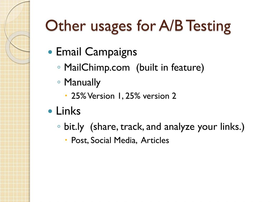 Other usages for A/B Testing