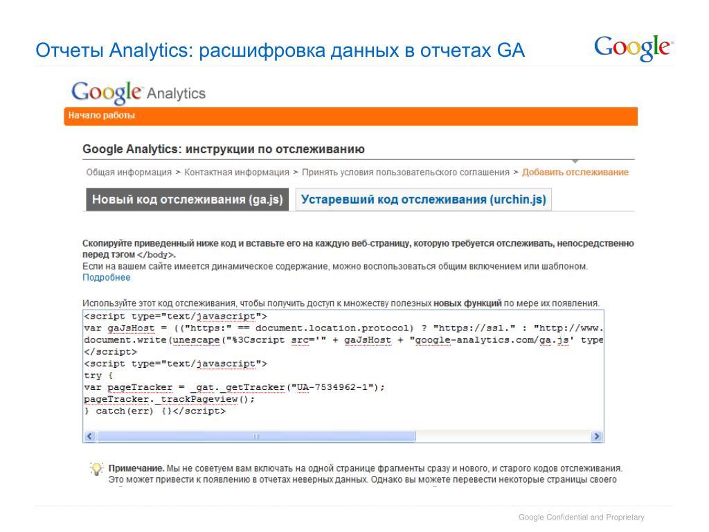 Отчеты Analytics: расшифровка данных в отчетах GA