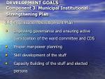development goals component 3 municipal institutional strengthening plan