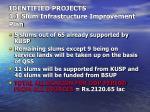 identified projects 1 1 slum infrastructure improvement plan