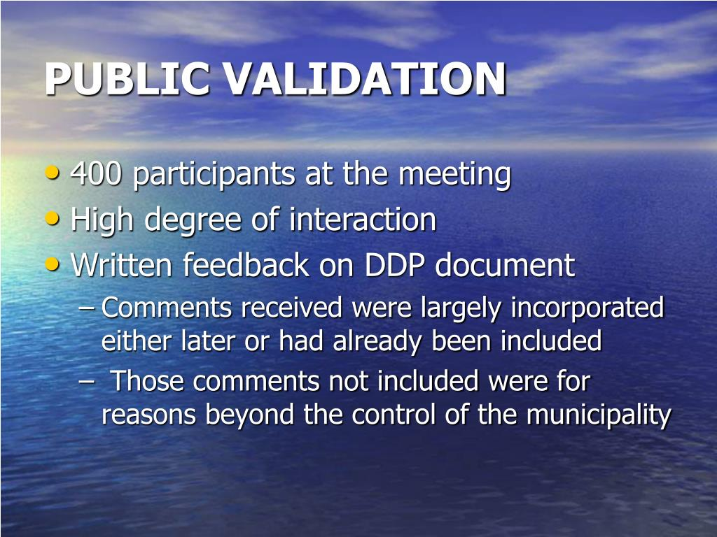 PUBLIC VALIDATION