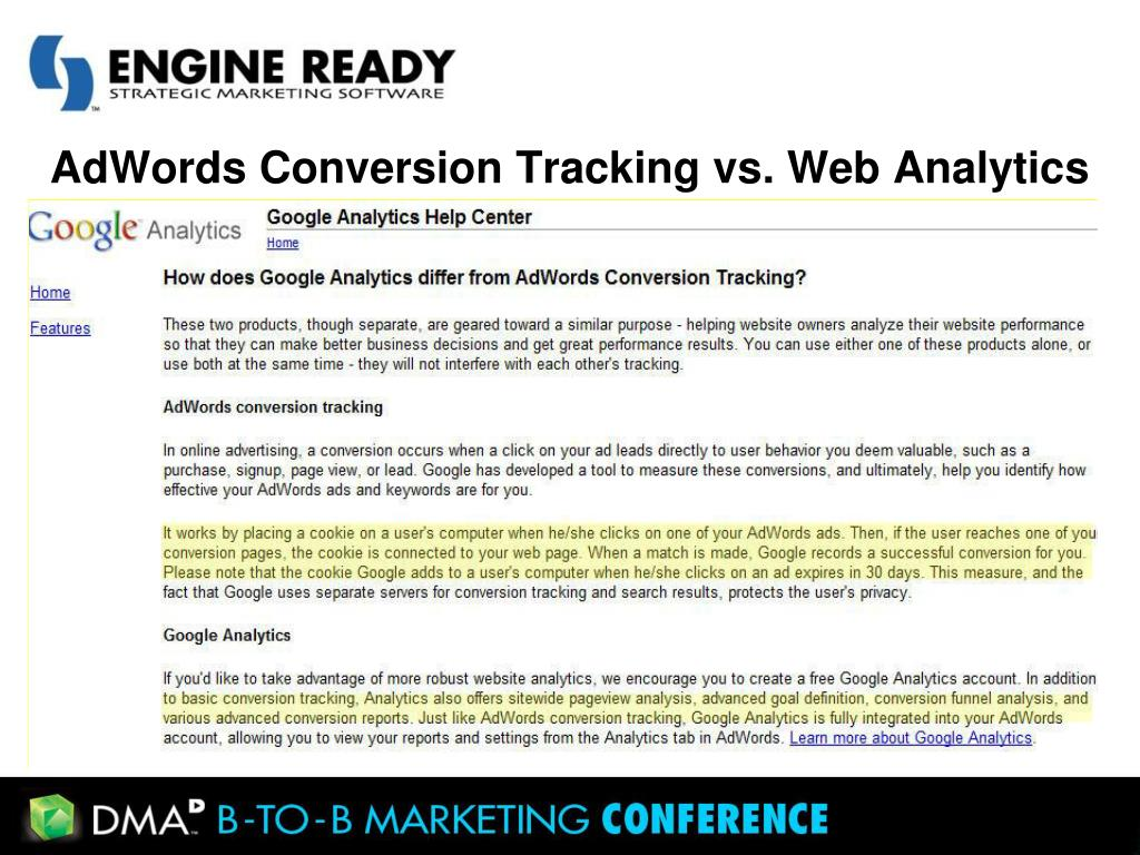 AdWords Conversion Tracking vs. Web Analytics