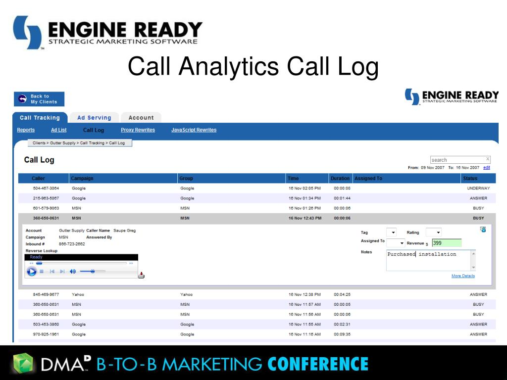 Call Analytics Call Log