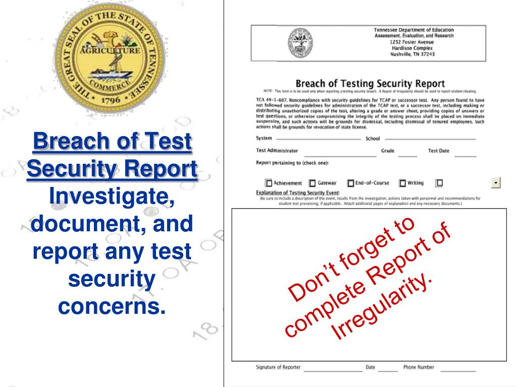 Breach of Test Security Report