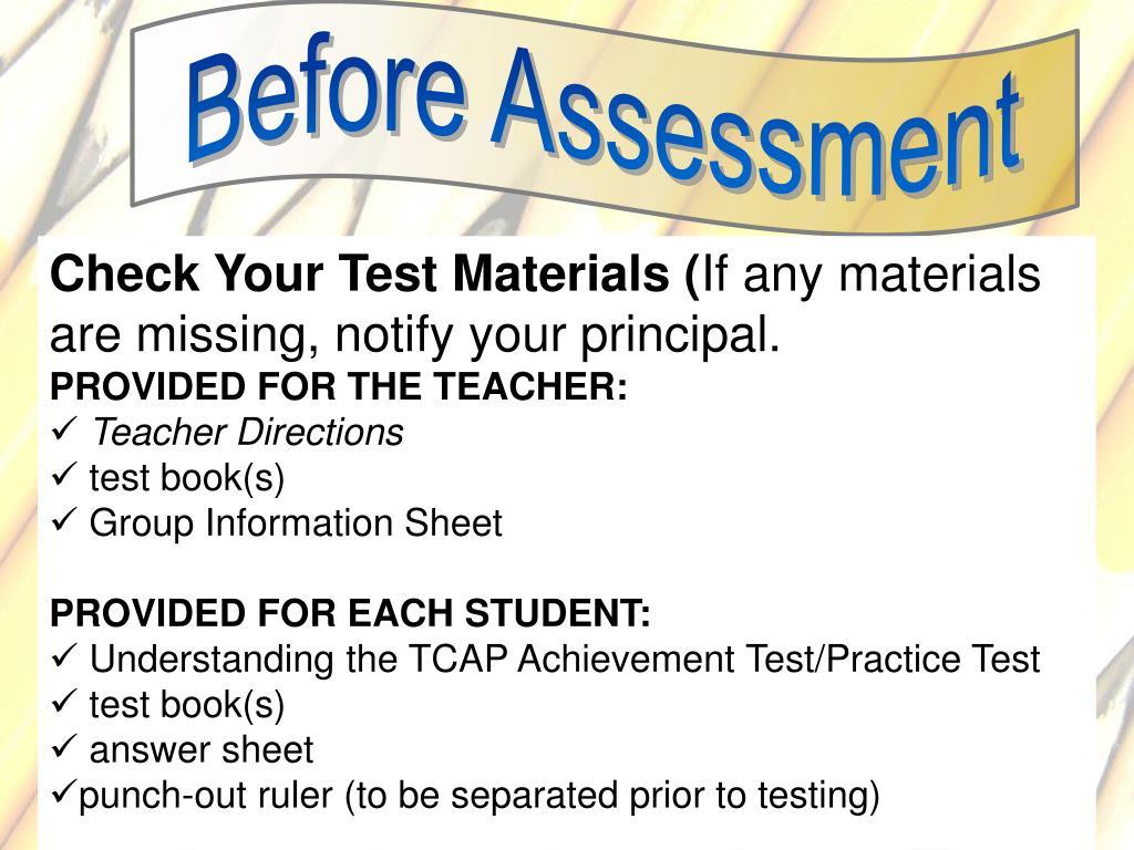 Before Assessment