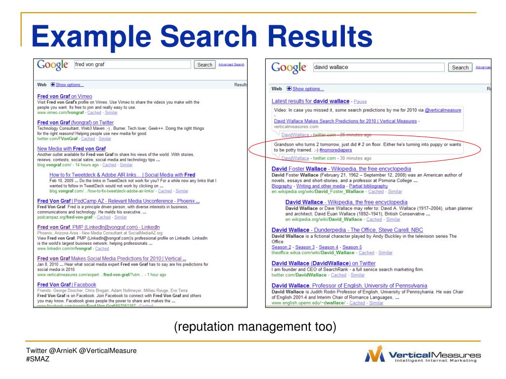 Example Search Results