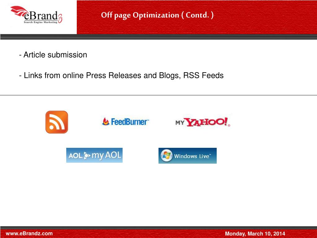 Off page Optimization ( Contd. )