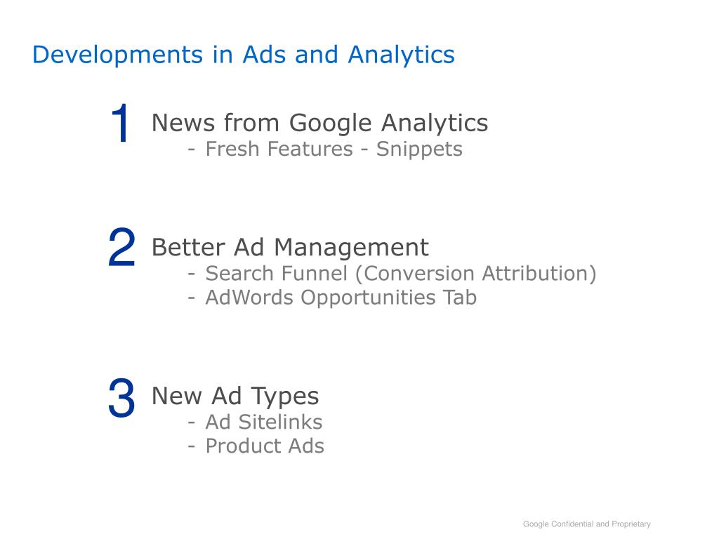 Developments in Ads and Analytics