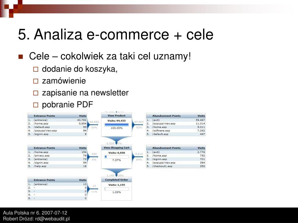 5. Analiza e-commerce + cele
