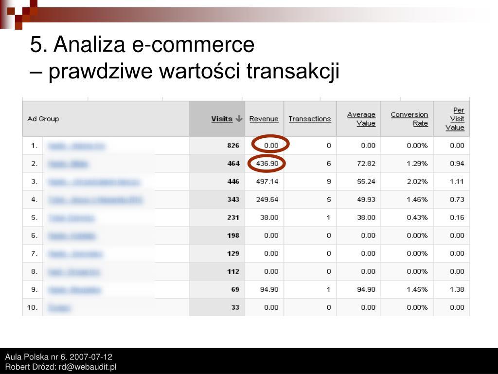 5. Analiza e-commerce