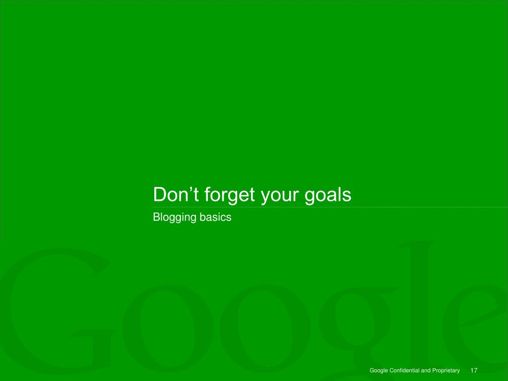 Don't forget your goals