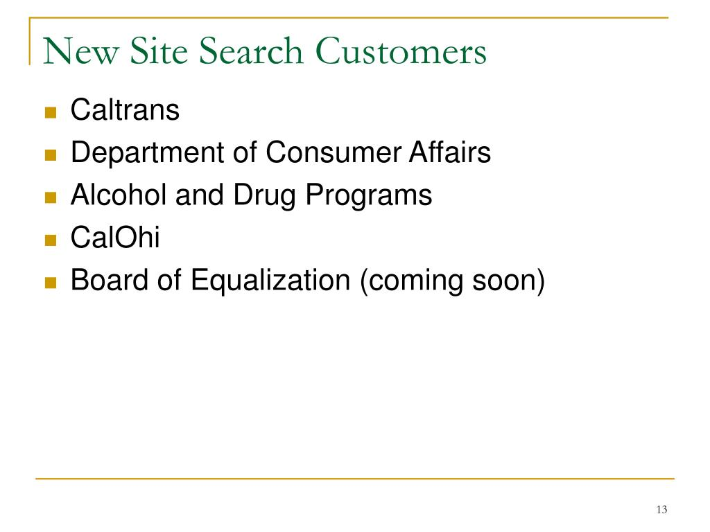 New Site Search Customers
