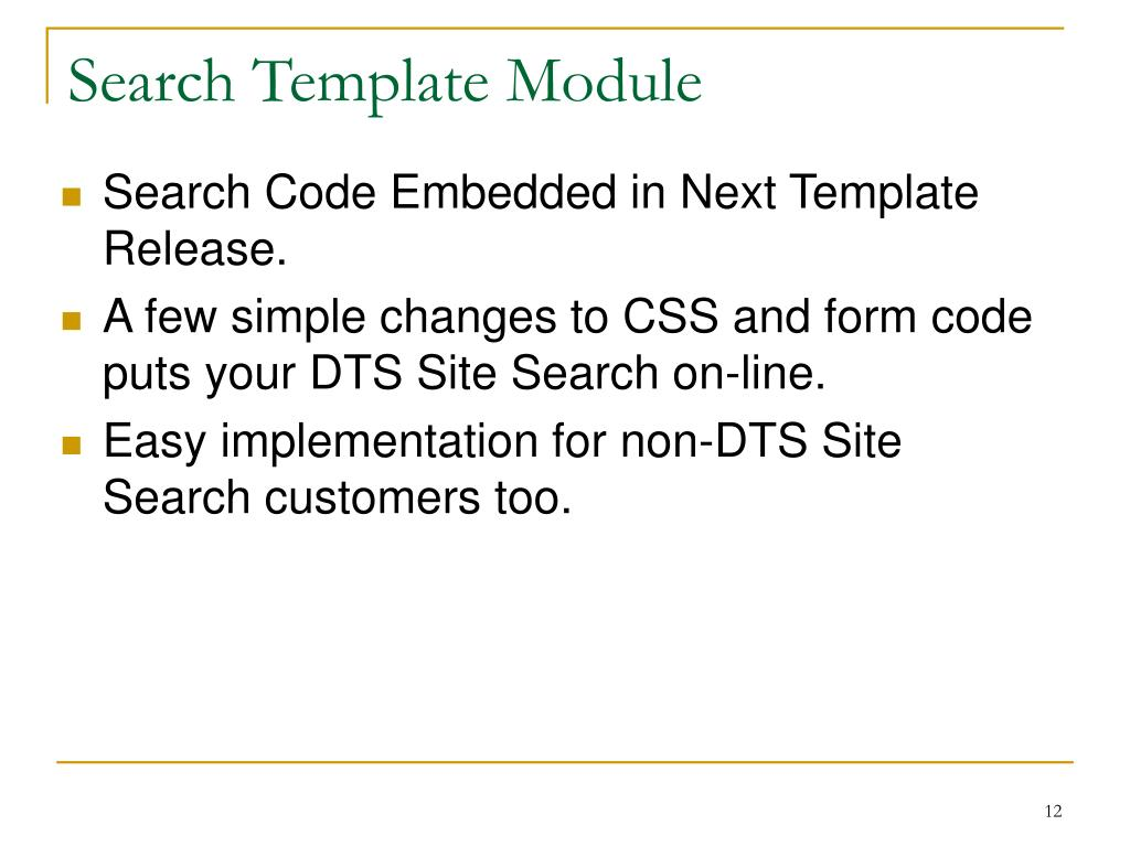 Search Template Module