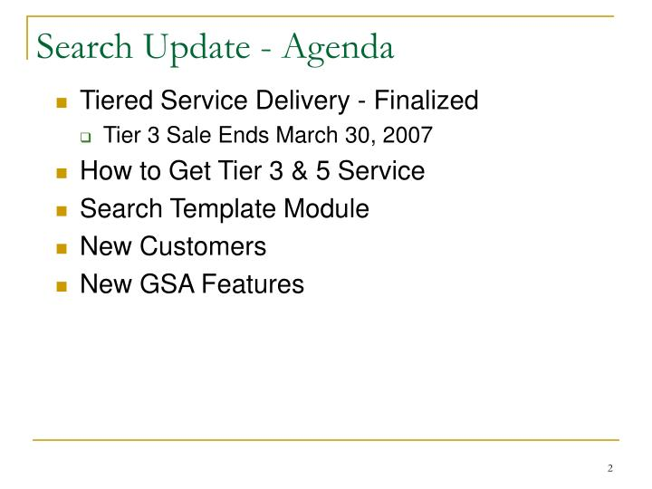 Search update agenda
