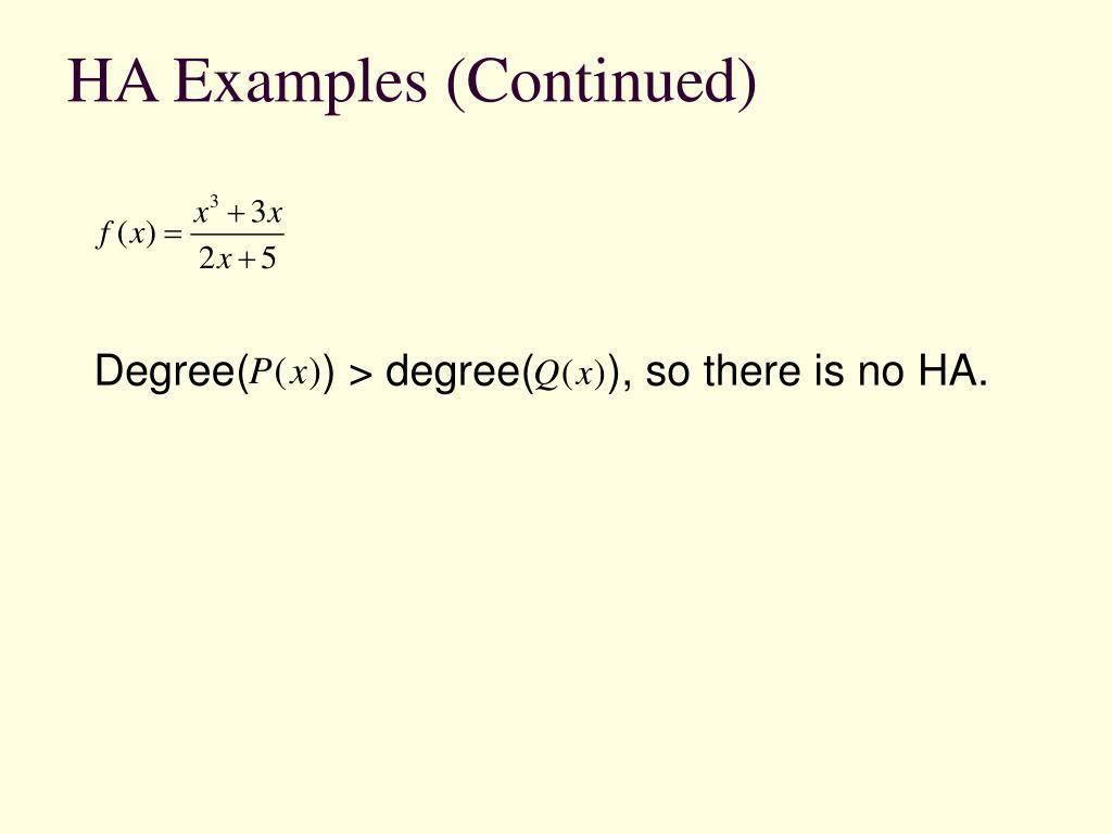 HA Examples (Continued)
