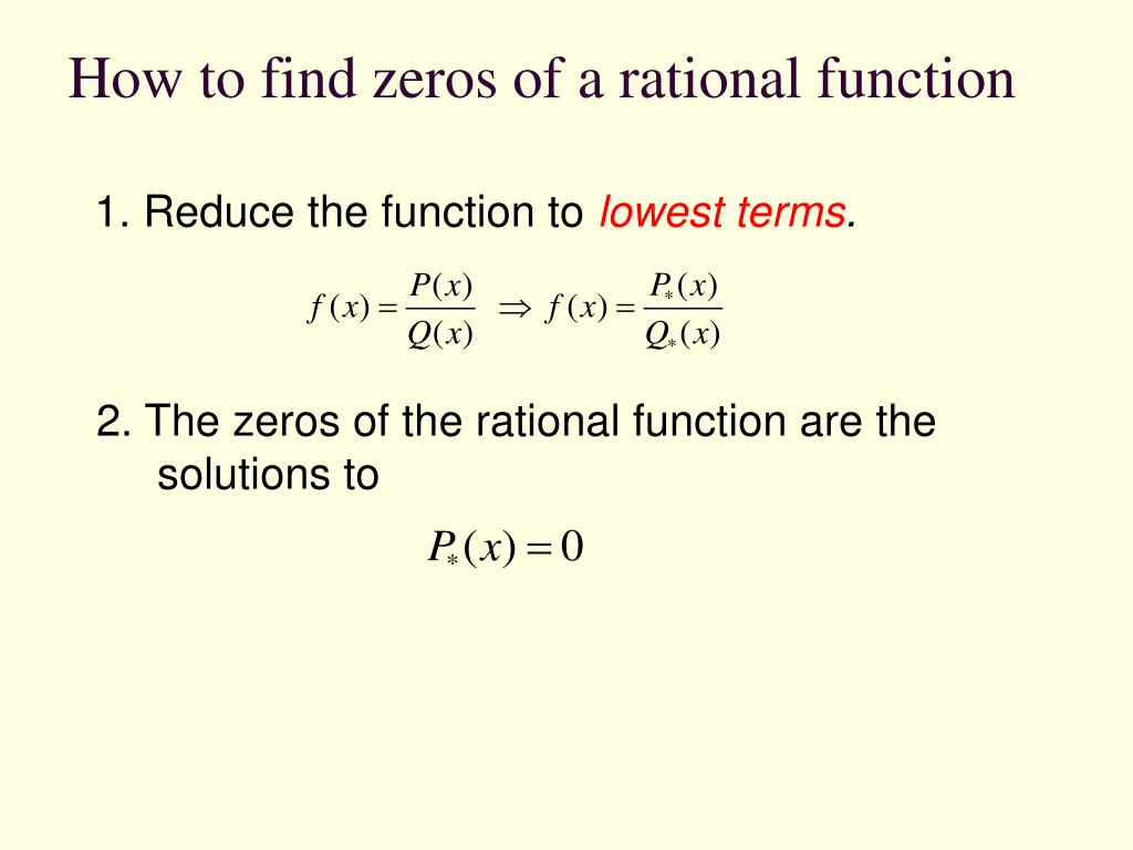 How to find zeros of a rational function