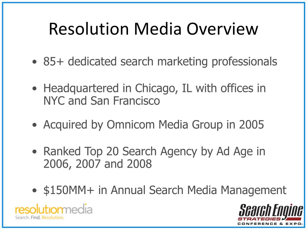 Resolution Media Overview