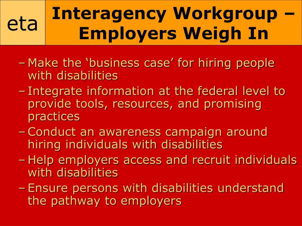 Interagency Workgroup – Employers Weigh In