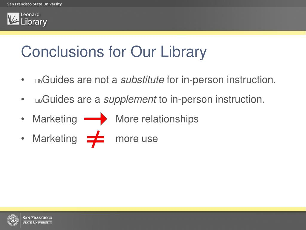 Conclusions for Our Library