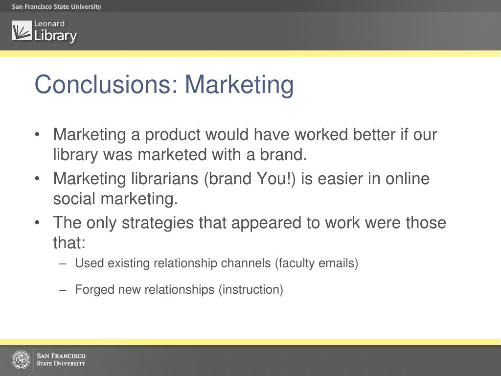 Conclusions: Marketing