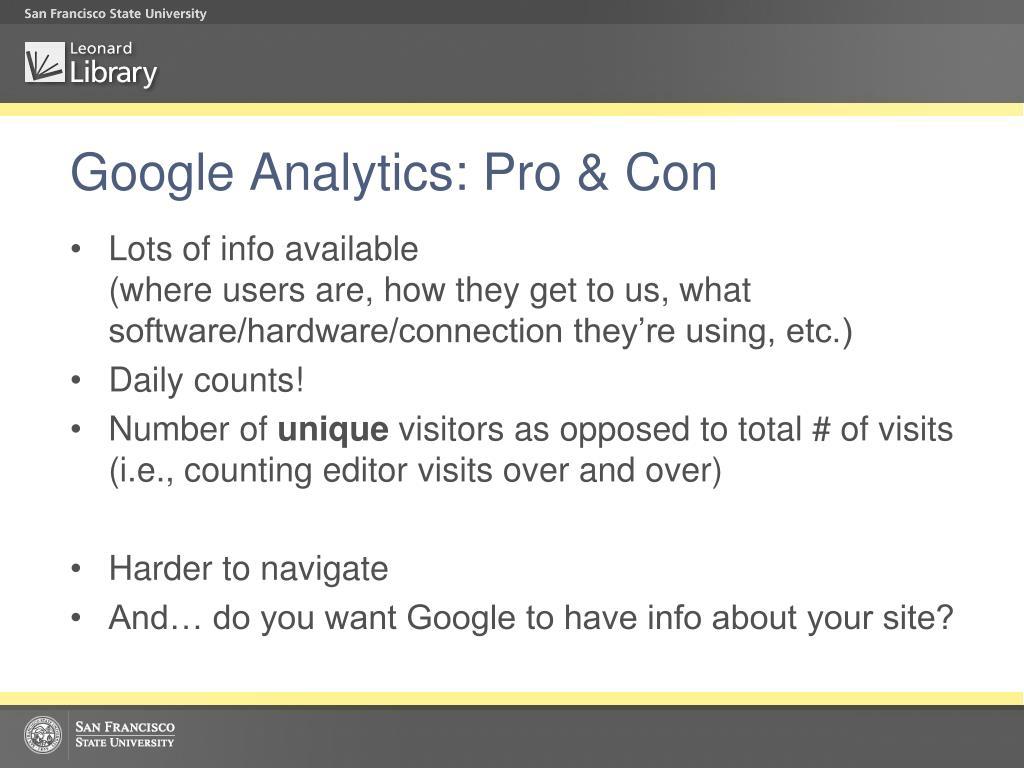 Google Analytics: Pro & Con