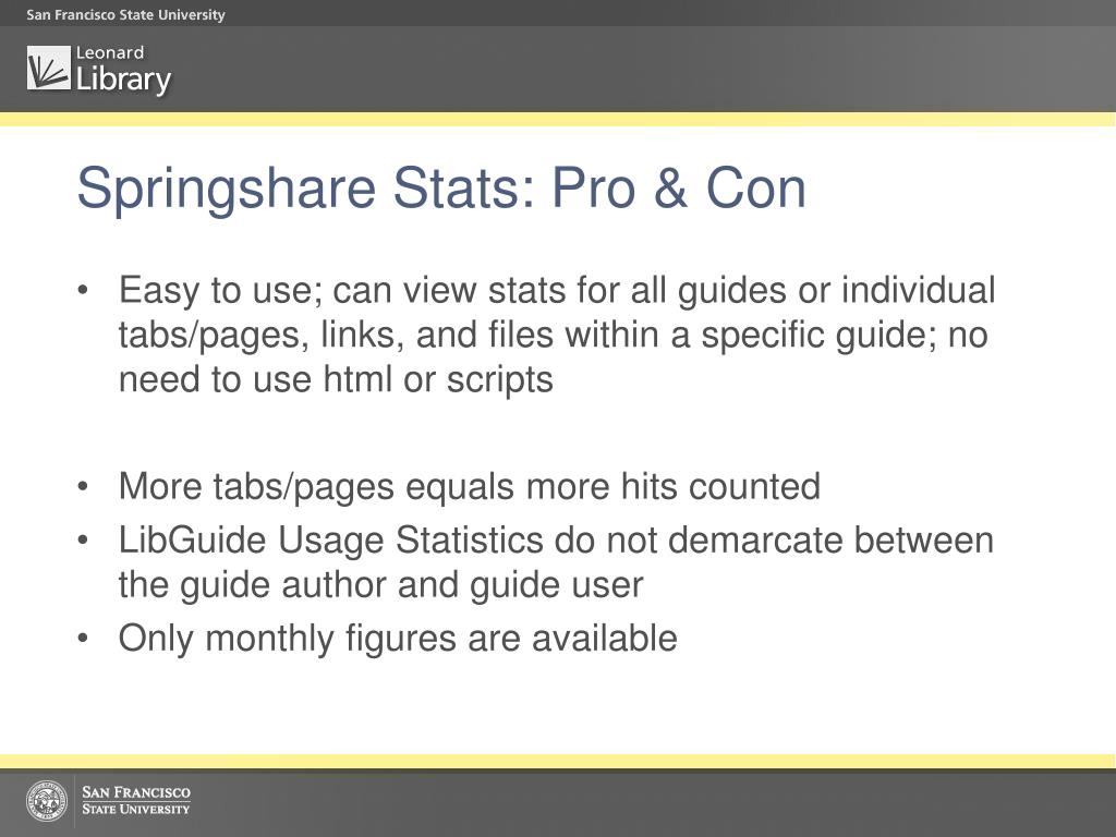 Springshare Stats: Pro & Con