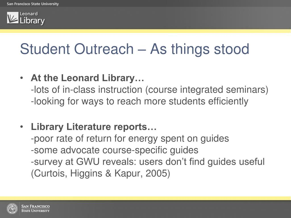 Student Outreach – As things stood