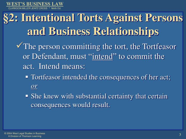 2 intentional torts against persons and business relationships l.jpg