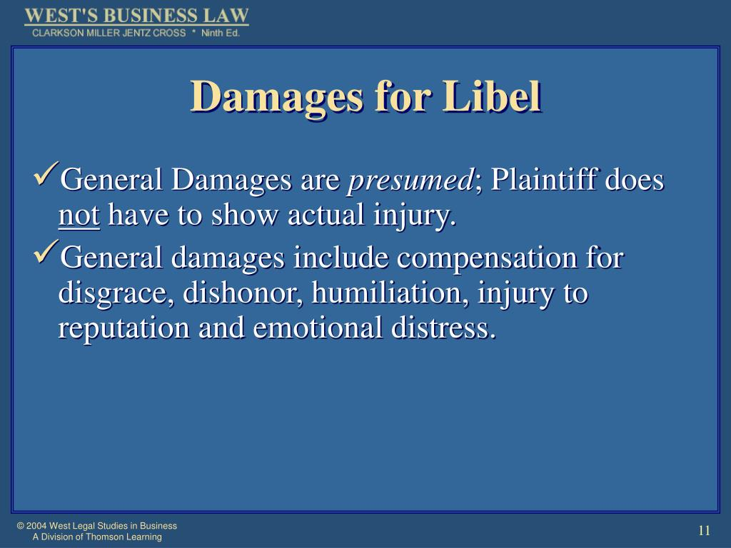 Damages for Libel