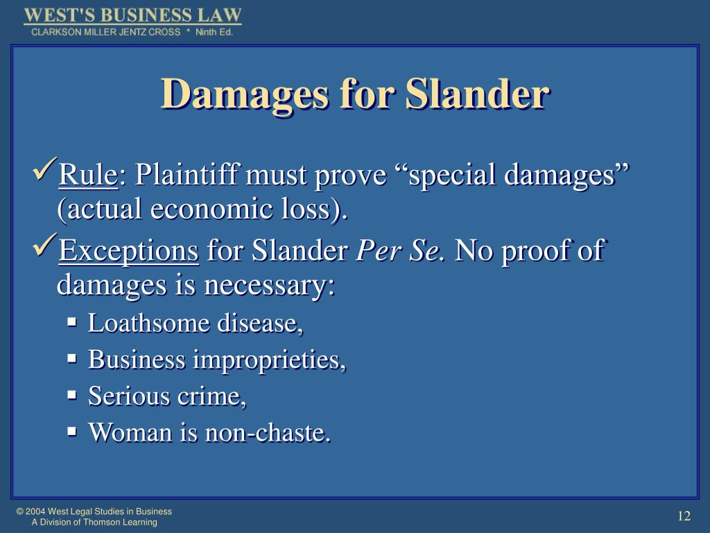 Damages for Slander