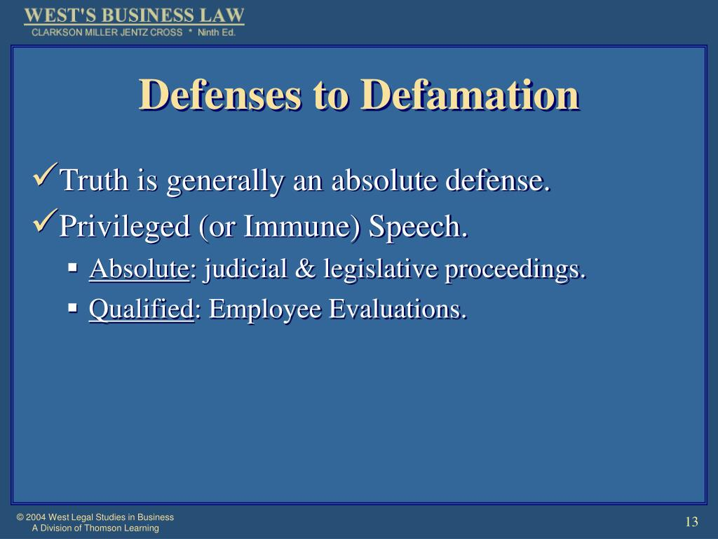 Defenses to Defamation
