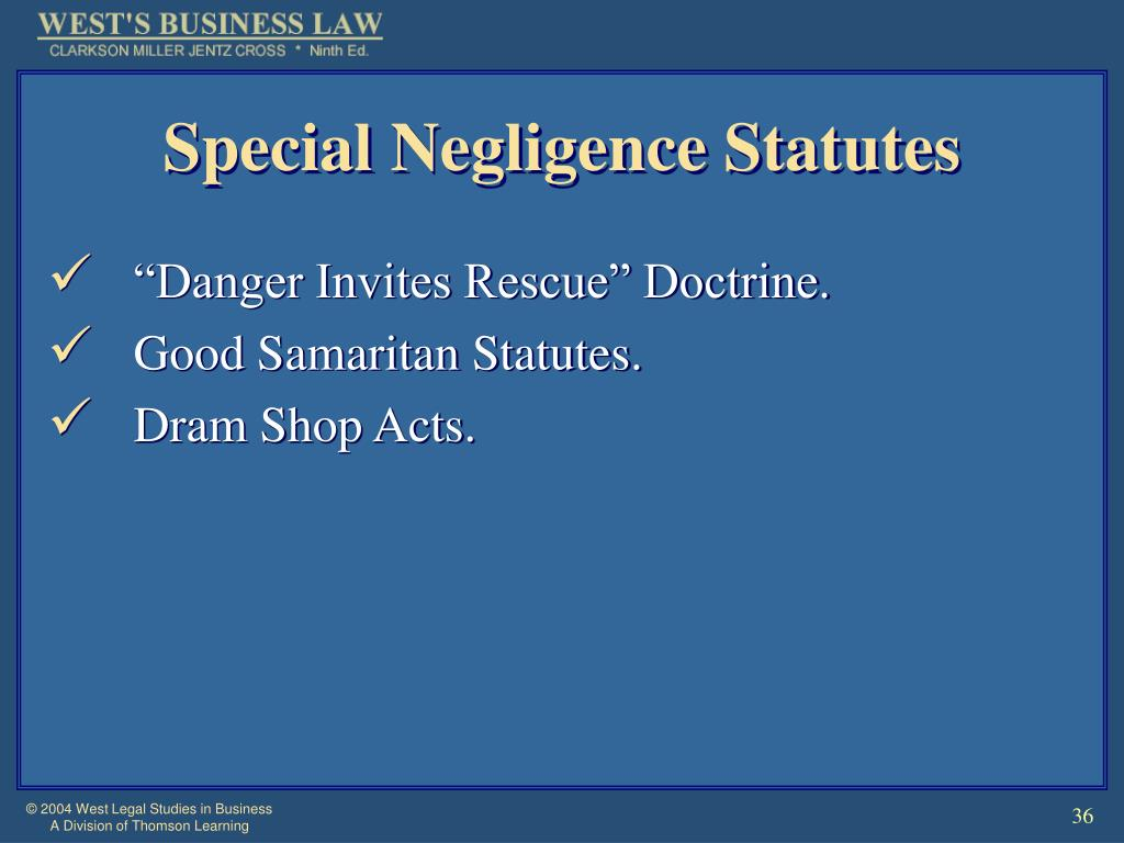 Special Negligence Statutes