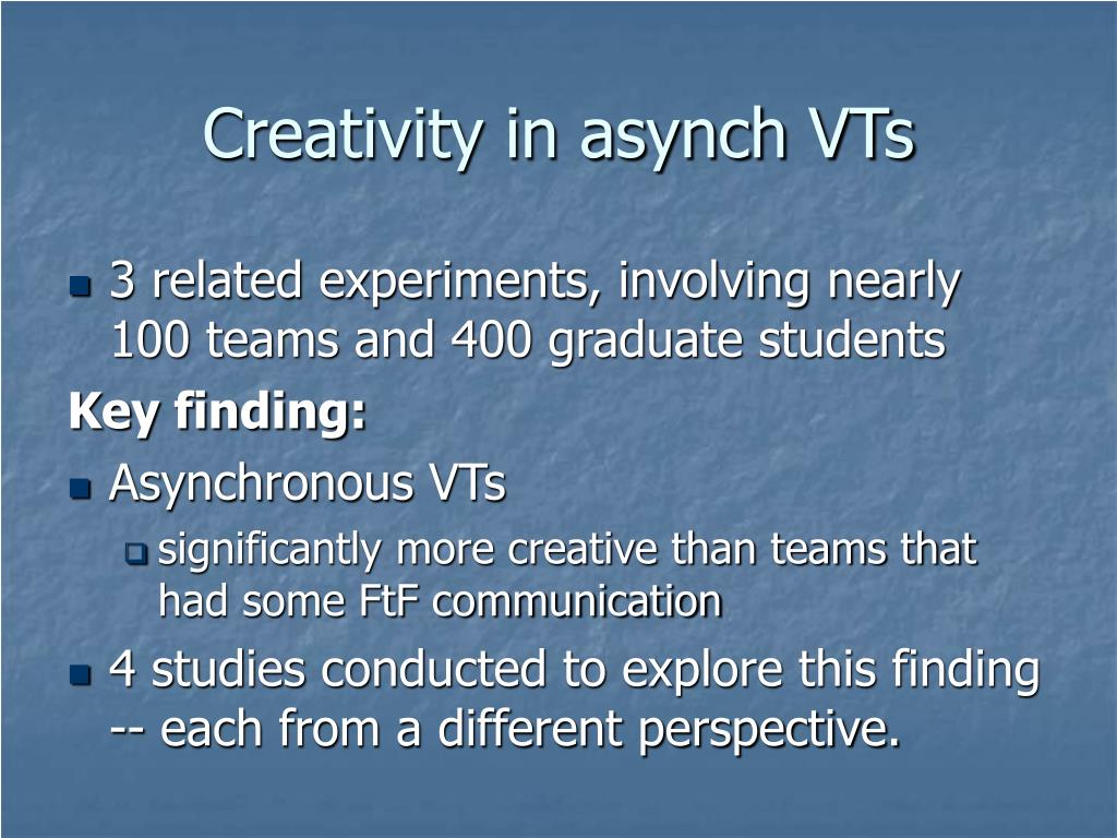 Creativity in asynch VTs