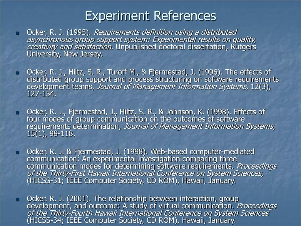 Experiment References