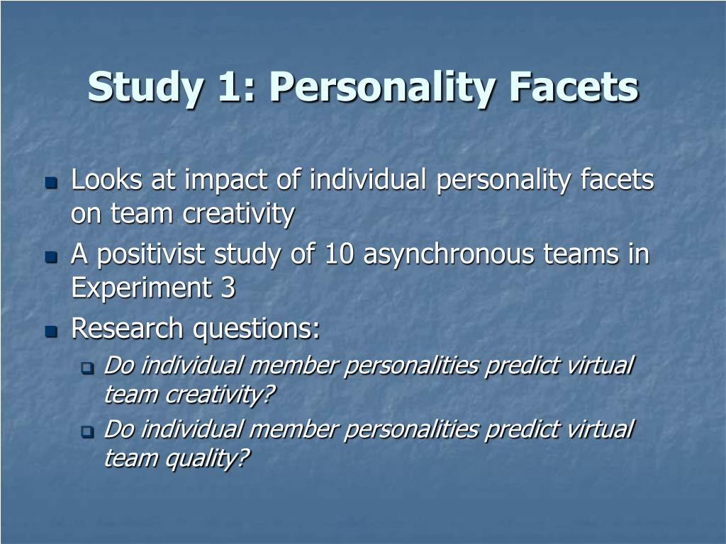 Study 1: Personality Facets