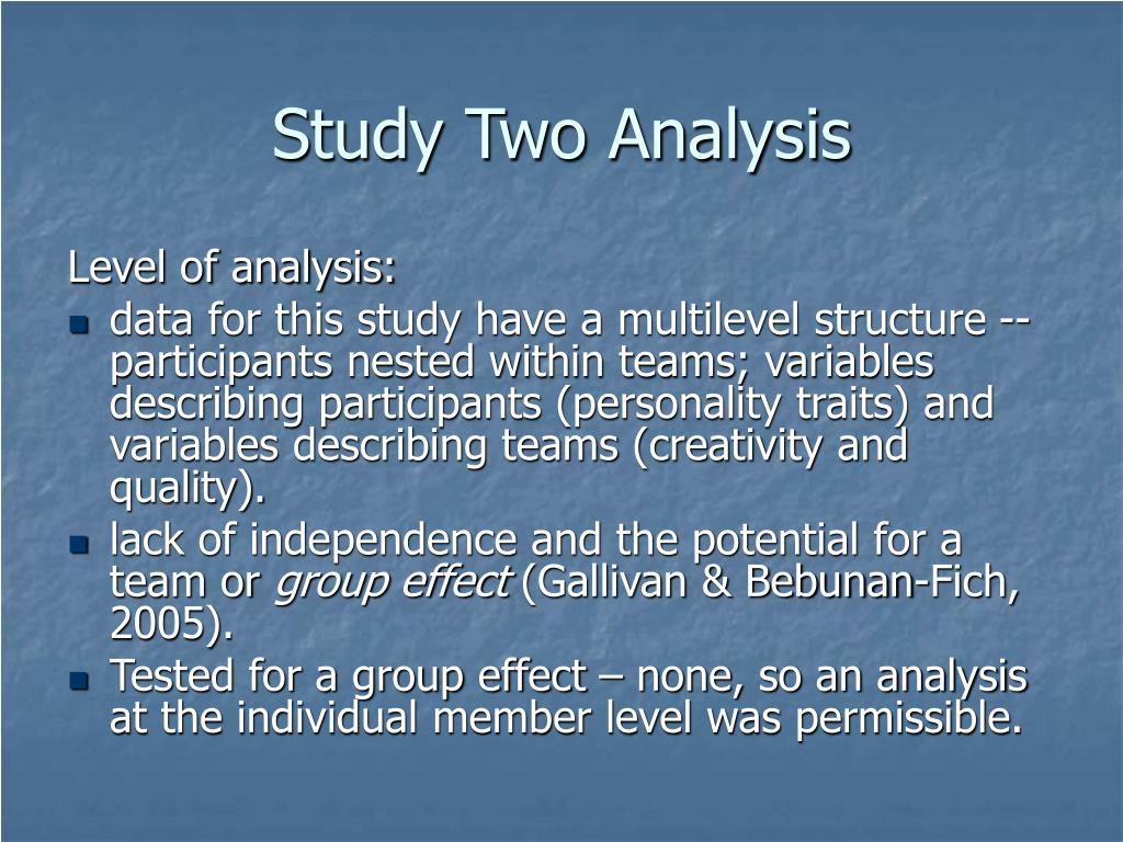 Study Two Analysis
