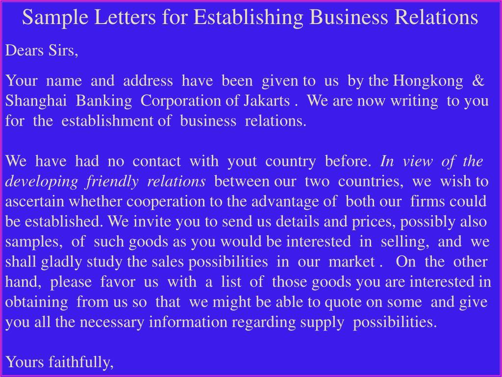 Sample Letters for Establishing Business Relations