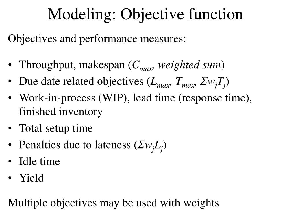 Modeling: Objective function