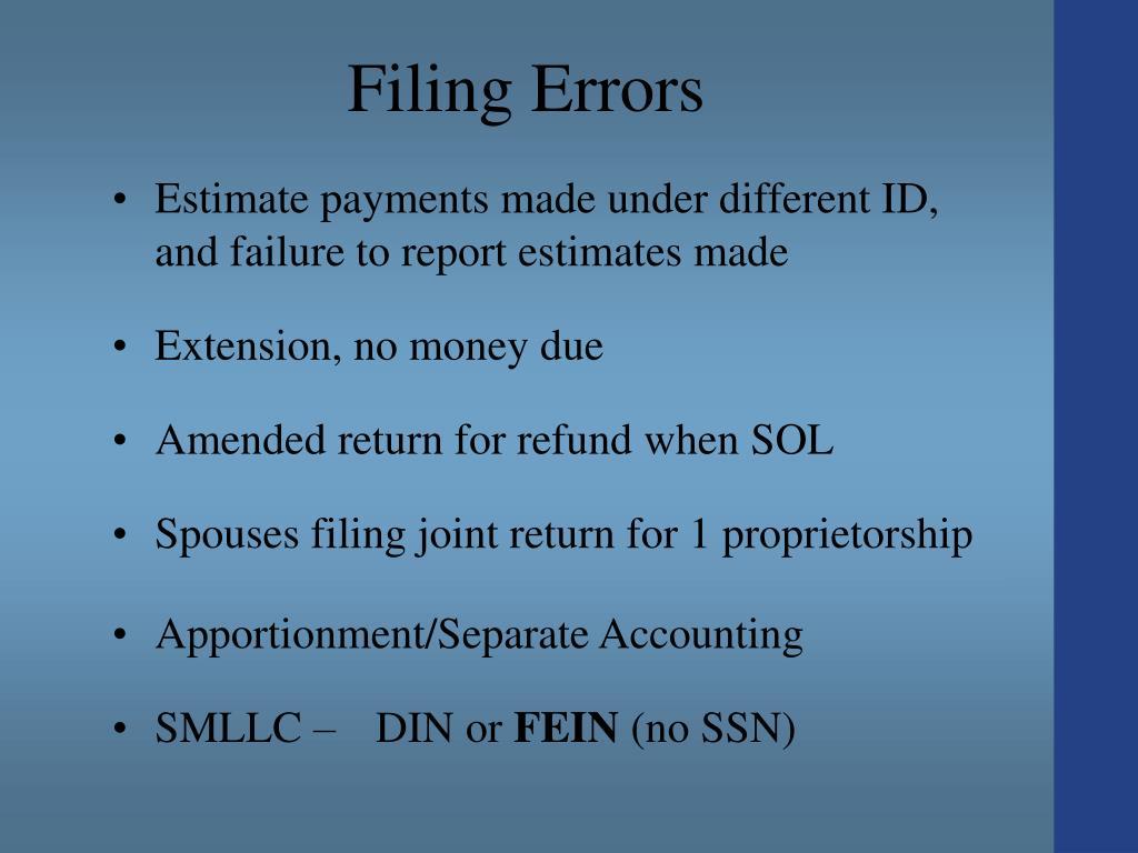 Filing Errors