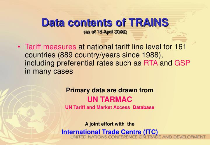 Data contents of TRAINS