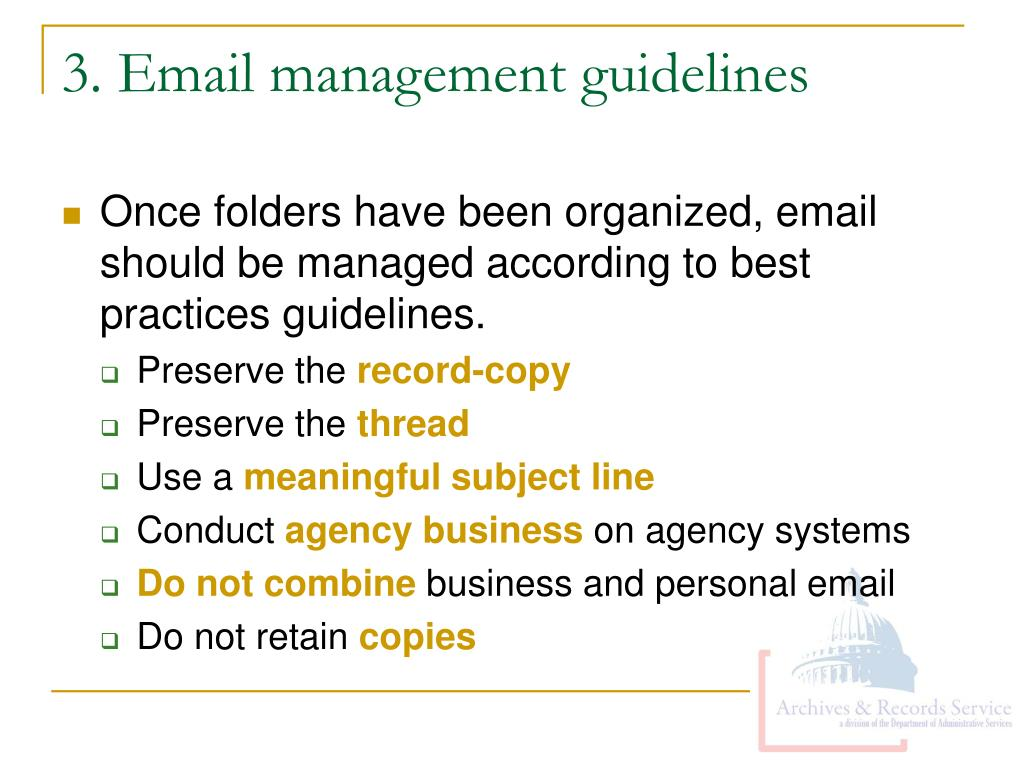 3. Email management guidelines