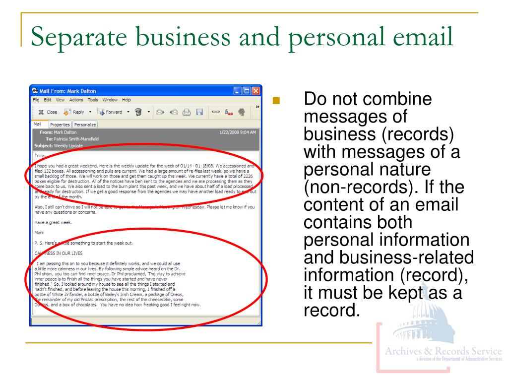 Separate business and personal email