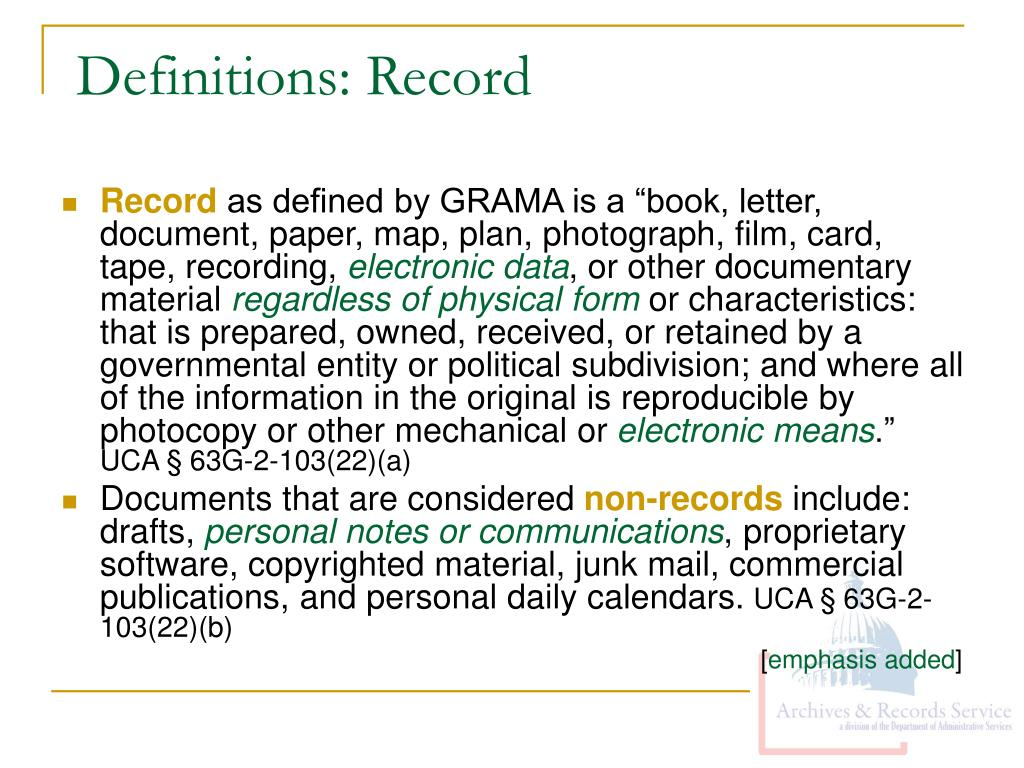 Definitions: Record